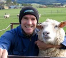 Peter Blomfield in a sheep farm